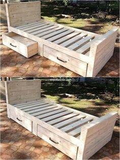 Have wood pallet bed with simple and decent looks to enhance the charm of your place more efficiently. This is multi-functional craft, it has two wide drawers which helps you to keep things out of harm. Have such wonderful and useful creations at your place for your ease and convenience.
