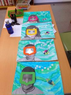 Ocean art project with student photos – ideal for an ocean theme! photos Ocean art project with student photos – ideal for an ocean theme! Cool Art Projects, Projects For Kids, Ocean Projects, Summer Art Projects, Children Art Projects, Art Project For Kids, Children Crafts, School Projects, Arte Elemental