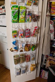 I hate the millions of boxes that crowd the pantry. SO much easier! You can put the kid friendly items towards the bottom for their easy access and Mommy's special treats up top.