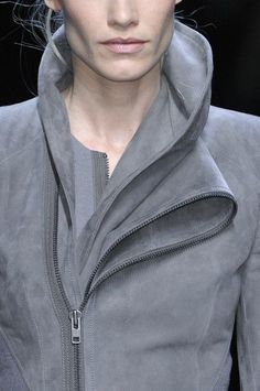 Asymmetry, sculptural folds & zipper trim collar detail - suede jacket; cool fashion details // Haider Ackerman