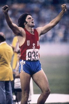 An American icon, Bruce Jenner flexed his impressive muscles as he crossed the finish line during the 1976 Summer Olympics in Montreal, setting the record for the decathlon and earning a gold medal.
