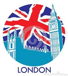 Londres ben grande con el fondo de la bandera del Union Jack