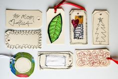 adorable! stitching on paper for gift tags or cards