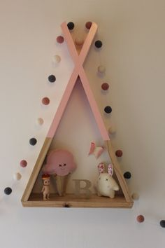 Teepee Shelf Shelves Pink Tribal Nursery Decor por AhAhOnline