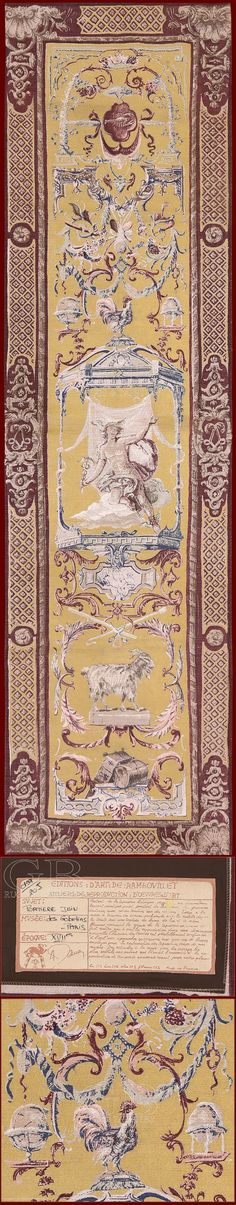 """Tapestry De Rambouillet - Polychrome reproduction on textile of tapestry """"Portiere Juin"""""""