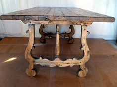 Rare & rustic Dining table in extinct Am Chestnut. Wormy character from 1800's log cabin.  Hand made the old fashion way.  Simply stunning.  For sale @ $ 1750.00