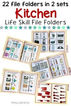 Work on so many different kitchen life skills before you even take your students to a kitchen! Practice skills like setting the table, making a shopping list, identifying common kitchen items, measuring cups and spoons, sorting kitchen items, and SO MUCH MORE! Plus I love file folders because students seem to think they are playing a game and they take up so little space! #specialeducation File Folder Activities, File Folders, Oven Racks, Kitchen Items, Filing, Measuring Cups, Life Skills, Special Education, Spoons