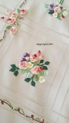 myçeyizcim Hand Embroidery Patterns Flowers, Hand Embroidery Videos, Hand Embroidery Flowers, Hand Embroidery Tutorial, Hand Embroidery Stitches, Hand Embroidery Designs, Ribbon Embroidery, Cross Stitch Embroidery, Embroidery Supplies