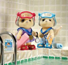 eerste en tweede bij het wedstrijd zwemmen!