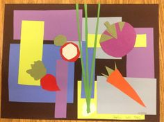from Mrs. Knight's Smartest Artists: Vegetables cut paper collage inspired by Matisse