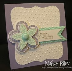 Simple bday or thank you card. I like these colors together.  I think I would like a bit more on it.