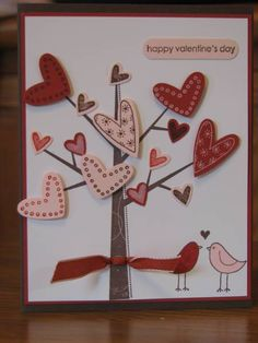 Valentine's Card- tree with heart leaves