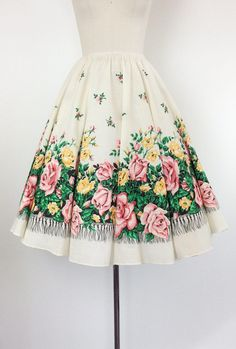 Super cute pink & yellow rose print circle skirt from the 50s / early 60s. Full circle skirt design made out of medium weight cotton and perfect for spring or summer. Elastic waistline fits a variety of sizes!  | c o n d i t i o n | great - no real flaws to note | m e a s u r e m e n t s | fits a modern day size 4 to 14 waist - 25 to 35 inches total length - 28 inches (no hem) fabric - cotton  | i n f o |  shop | www.etsy.com/shop/CheshireVintageShop shop policies | www.et...
