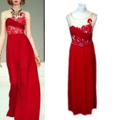 Embroidered Sleeveless Long Red Sheer Maxi Dress, Red Carpet Dress, Evening Cocktail Dress, Formal Dress