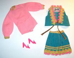 Vintage & MOD Barbie #1458 GYPSY SPIRIT 1970 Mini Skirt & Vest Pink Blouse Shoes
