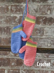 Caron International | Free Simply Soft® Project | Striped Mittens (Crochet)