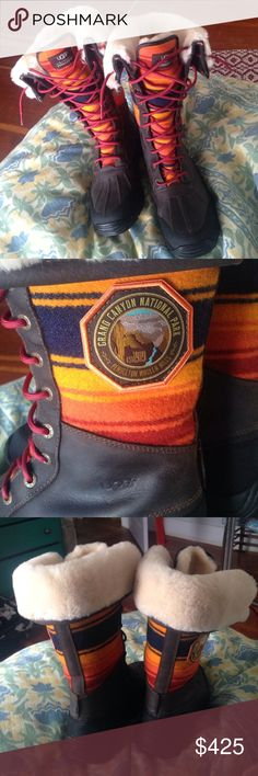 Ugg tall adirondack national park boots size 8.5 Oh man these are beauts. Never worn; might trade for another pair of pendleton Uggs? or the Grand Canyon pendleton blanket that is the same colors just way more navy blue in the blanket. Sold out everywhere UGG Shoes Winter & Rain Boots