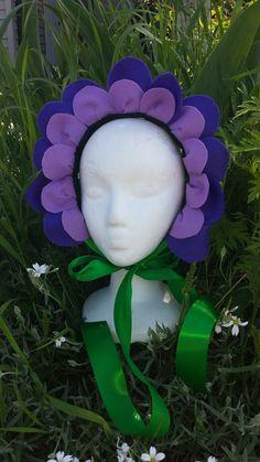 Flower Headpiece - Purple Felt - Flower Costume - Flower Crown -Alice in Wonderland - Flower Fairy