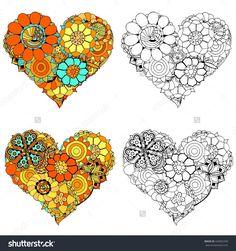 Set of Hand drawn Heart of flower doodle background. Art illustration