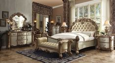 Looking for the perfect Acme Vendome Gold Patina Bone Queen Sleigh Bedroom Set? Please click and view this most popular Acme Vendome Gold Patina Bone Queen Sleigh Bedroom Set. Sleigh Bedroom Set, King Bedroom Sets, Queen Bedroom, Queen Bedding Sets, Bedroom Furniture Sets, Master Bedroom, Bedroom Ideas, Budget Bedroom, Kids Bedroom