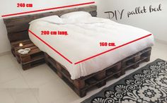 Pallet Bed 160 x 200 cm from 4 new pallets - - Build a sturdy bed? This is easy to do with used pallets. The pallets are used to a minimum and loo - Pallet Room, Pallet Bathroom, Diy Pallet Bed, Palette Bed, Pallet Bed Frames, Bedding Inspiration, Aesthetic Room Decor, Room Ideas Bedroom, Man Room