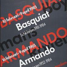 <cite>Basquiat schilderijen 1981–1984, Armando 100 tekeningen 1952– 1984</cite> poster typography Future