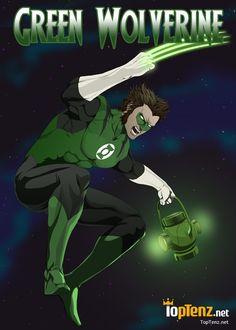 Green Lantern and Wolverine Mashup as Green Wolverine - Toptenz.net