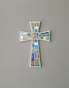 Mosaic Wall Cross White with Iridescent Glass and Silver Mirror Handmade Stained Glass Mosaic Cross Wall Decor x Mosaic Wall, Mosaic Glass, Stained Glass, Mosaic Crosses, Wall Crosses, Mosaic Company, Cross Wall Decor, Cross Art, Green Banana