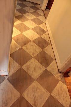 DIY: How to Paint Wood Floors with Annie Sloan& Chalk Paint - tutorial sho. Annie Sloan Chalk Paint Floor, Annie Sloan Chalk Paint Tutorial, Annie Sloan Paints, Wood Floor Pattern, Floor Patterns, Painted Wood Floors, Painted Furniture, Plywood Floors, Wood Flooring