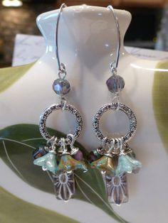 Czech beaded earrings picasso glass flower by SusansBeadGarden, $15.00