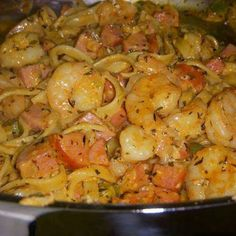 Cajun Shrimp & Sausage Pasta*** Ingredients ½ - ¾ lb cooked fettuccine 2 TBS olive oil 1 lb peeled, deveined raw large shrimp 1 TBS plus 2 tsp Essence seasoning (recipe below - I think you can buy this, too.) 1 ½ hot linked or smoked turkey sausages,. Cajun Shrimp And Sausage Pasta Recipe, Sausage Pasta Recipes, Garlic Shrimp Pasta, Seafood Recipes, Cooking Recipes, Garlic Chicken, Cajun Sausage, Chicken Pasta, Spicy Shrimp