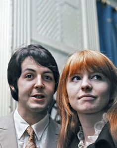 """janeashersource: """"Paul McCartney and Jane Asher in the Mayfair Suite of the Hanover Grand in London attending the launch party celebrating the release of Apple artists, The Grapefruit's, new single,..."""