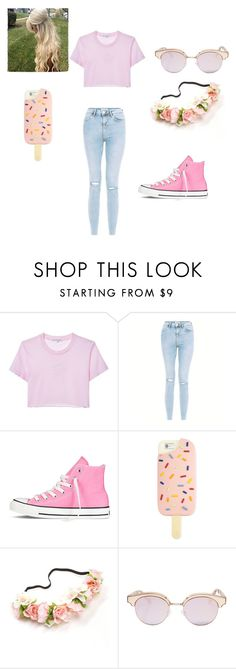 """bubblegum pink"" by justsometeenagerfromyesterday on Polyvore featuring Converse, Tory Burch and Le Specs"