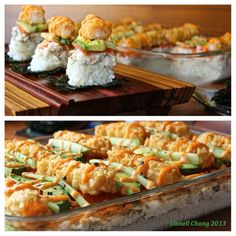 Sushi Casserole...making something like this tonight to serve with sheets of nori to kind of eat like a taco or burrito