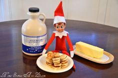 These elf on a shelf ideas are AMAZING! I was looking for the elf on a shelf ideas to use this year and this article has an idea for each day in December! Super fun and exciting for the kids (and adults, too! How To Make Pancakes, How To Make Breakfast, A Shelf, Shelves, Shelf Elf, Elf Auf Dem Regal, Awesome Elf On The Shelf Ideas, Elf Magic, Elf On The Self