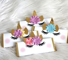 Unicorn Candy Bars - Wrapped Hershey Bars with embellishments.