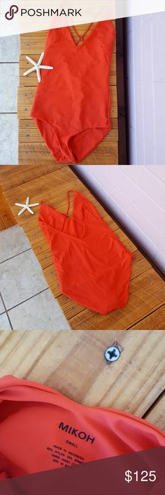S MIKOH LAS PALMAS MONOKINI -orange las palmas kini -size small -x-cross back -full coverage  -hygienic liner -80% nylon 20% spandex  -brand new without tag -comes from a smoke-FREE & pet-FREE home Mikoh Swim Bikinis