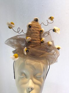 personal favorite from my Etsy shop /.A personal favorite from my Etsy shop /. Crazy Hat Day, Crazy Hats, Fascinator Headband, Fascinators, Bee Hat, Dinosaur Hat, Skinny Headbands, Silly Hats, Costumes