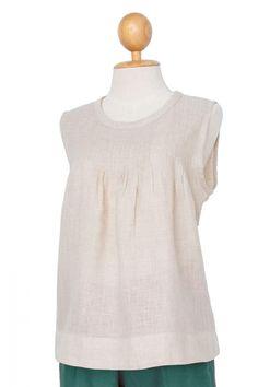 Sally Pintuck Sleeveless Linen Blouse, Natural