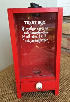 Grandma's Sweet Treat Box, If Mother says no, ask Grandma,  Little red wooden box, Treat box, Candy box, Farm kitchen, Kitsch kitchen by TwoSwansSwimming on Etsy