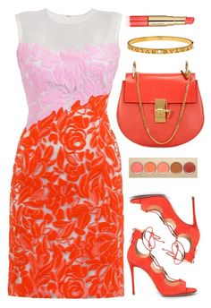 """""""Rose Petals"""" by monmondefou ❤ liked on Polyvore featuring Estée Lauder, Stila, red, coral and orange"""