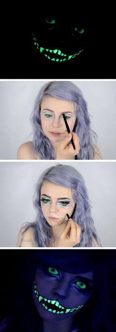 Glow in the Dark Cheshire Cat Tutorial | 20+ Easy Halloween Makeup Tutorials for Girls
