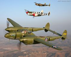 WWII Lockheed P-38 Lightning Pursuit Fighter Aircraft.  -   Three of a kind.