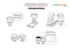 5 Pillars Of Islam Coloring Page - Coloring Pages For All Ages Ramadan Activities, Ramadan Crafts, Color Activities, Activities For Kids, 5 Pillars, Pillars Of Islam, Family Coloring Pages, Coloring Pages For Kids, Coloring Sheets