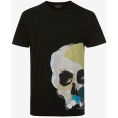Alexander McQueen Skull Printed T-shirt ($460) ❤ liked on Polyvore featuring men's fashion, men's clothing, men's shirts, men's t-shirts, black, mens logo t shirts, mens skull t shirts, mens multi coloured shirts, alexander mcqueen mens shirt and mens cotton t shirts