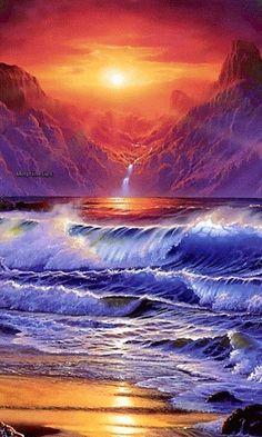 Artwork fantasy art ocean sunset waves wallpaper - карточка п Ocean Sunset, Ocean Art, Ocean Waves, Wallpaper Free, Sunset Wallpaper, Waves Wallpaper, Mountain Wallpaper, Galaxy Wallpaper, Fantasy Kunst