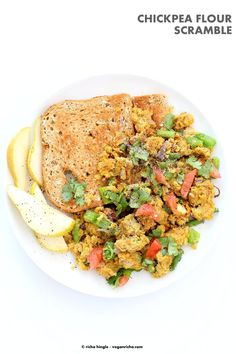 Easy Chickpea flour Scramble. Soy-free Breakfast Scramble with veggies. Make with lentil flour or lentil batter for variation. Vegan Gluten-free Recipe | VeganRicha.com