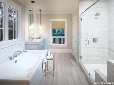Feeling calmer already? Select bath options that let you recharge in a modern, soothing master bathroom. | Pulte Homes