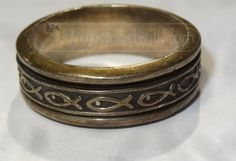 shopgoodwill.com: Sterling Silver Ichthys Worry Ring Size 10.75