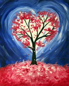 Big Hearted Tree ❤️ BE INSPIRED BY THOSE WHO TRIED~Find the perfect thing to do tonight by joining us for a Paint Nite in Loganville, GA, featuring fresh paintings to be enjoyed over even fresher cocktails! Easy Canvas Painting, Simple Acrylic Paintings, Heart Painting, Diy Canvas Art, Love Painting, Painting & Drawing, Painting Trees, Tree Paintings, Valentines Art